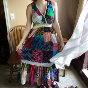 Boho patchwork quilt and lace maxi dress
